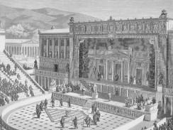 Приблизительно так мог выглядеть театр Диониса в Афинах. Гравюрная реконструкция.