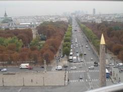 Франция. Париж. Вид на главную магистраль города Елисейские поля с колеса обозрения.