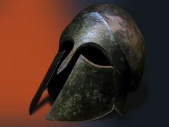 Греция. Афины. Кикладской художественный музей. Бронзовый шлем коринфского воина.