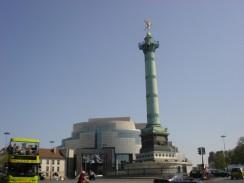 Франция. Париж. Площадь Бастилии и Июльская колонна.