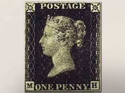 Швейцария. Берн. Музей связи. Первая почтовая марка Penny Black 1840 г.